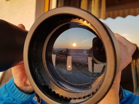 Sunset, Binoculars, Mirror, Reflections, Perspective