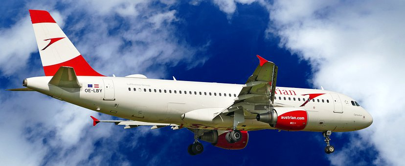 Austrian Airlines, Airbus, A320-214, Red White, Sky