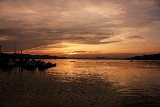 Sunset, Lake, Landscape, Reflection, Dusk, Evening