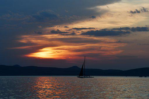 Sunset, In The Evening, Rest, Sailing, Color, Colors
