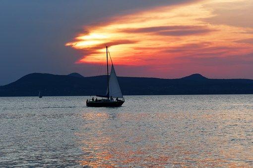 Sunset, In The Evening, Rest, Sailing, Lake Balaton