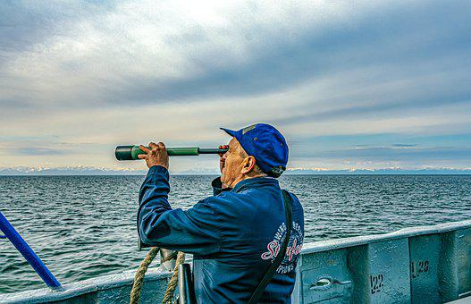 Lake Baikal, Water, Lookout, The Man With A Telescope
