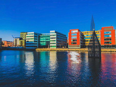 Architecture, Blue, Buildings, City, Colorful, Europe