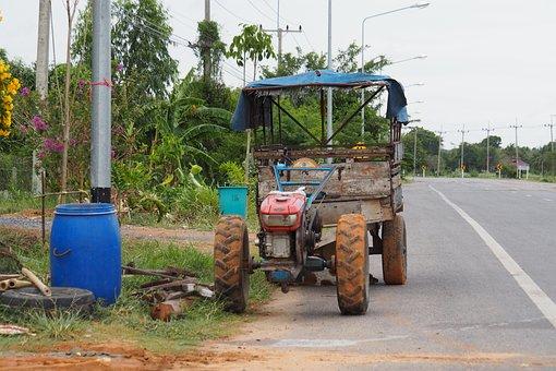 Farm Machine, Car, Road, Vehicle, Tractor, Farm