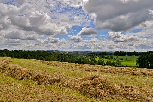 Landscape, Hay, Clouds, Training Course