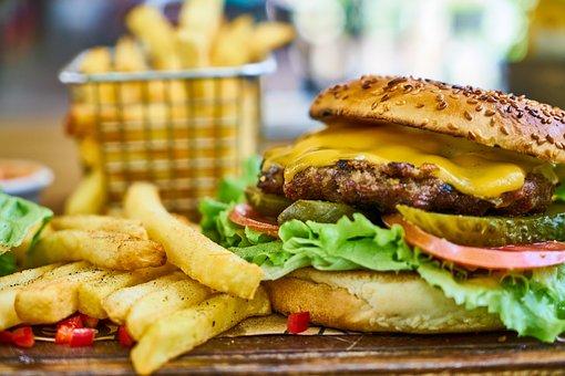 Burger, Meat, Potato, Oil, Fast, Barbecue, Food