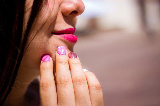 Girl, Young, Mouth, Lips, Happy, Pink, Thinking, Face