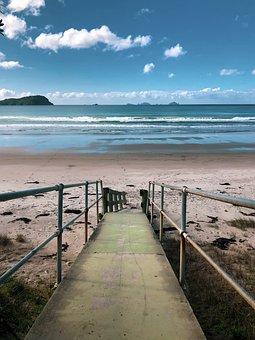Beach, Sand, Surf, Low Tide, Ocean, Sea, Water