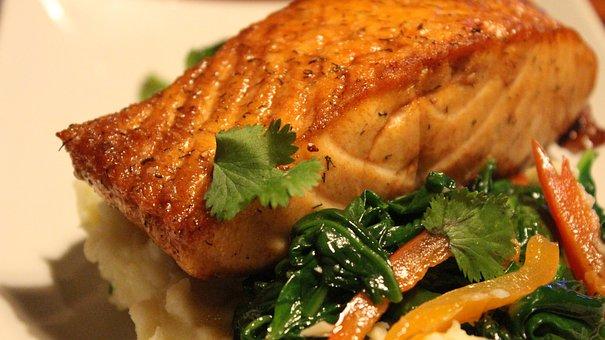 Salmon Dish, Food, Meal, Restaurant, Seafood
