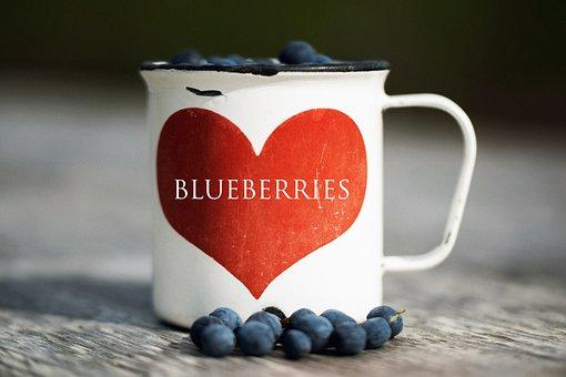 Nature, Berry, Blueberry, Heart, Mug, Blue, Summer, Red