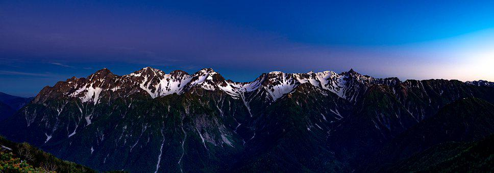 Panorama, Mountainous Landscape, Before The Dawn, Blue