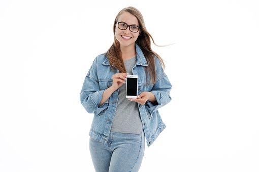 Girl, White, Background, Portrait, Beautiful, Phone