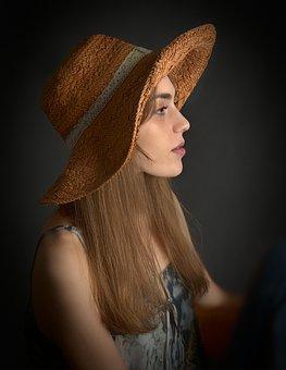 Girl, Woman, Profile, Hat, Beauty, Eyes, Mouth