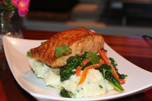 Restaurant, Salmon Dish, Seafood, Dinner, Food