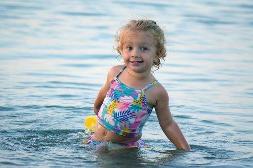 Girl, Baby, Sea, Summer, Child, Beach, Water, Joy
