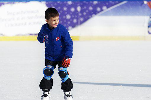 Child, Boy, Little Boy, Skating, Ice, The Rink, Smiling