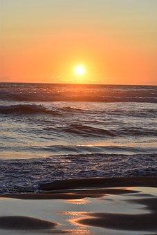 Sunset, Ocean, Sky, Beach, Water, Nature, Landscape