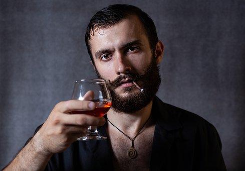 Guy, Man, Holds, Glass, Brandy, Cigarette, Cigar, Smoke
