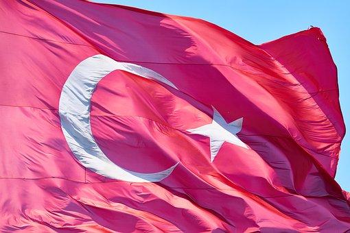 Turkey, Turkish, Flag, Red, Sky, Cami, Month, White
