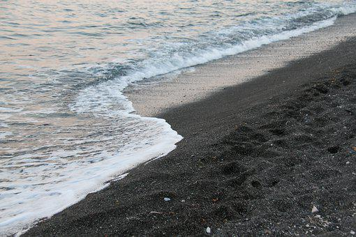 Perissa, Santorini, Black Sand, Beach, Twilight, Sea