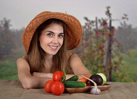 Girl, Woman, Vegetables, Health, Diet, Eating, Vitamins