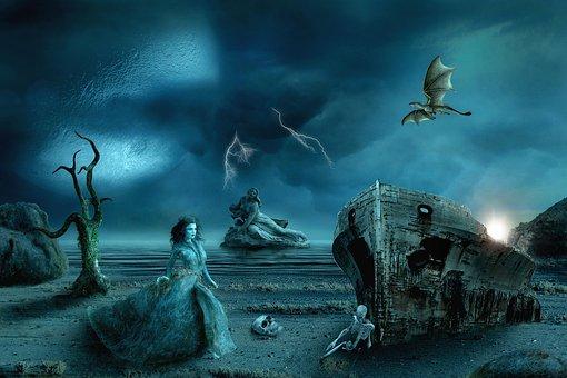 Fantasy, Woman, Stone, Water, Landscape, Mystical