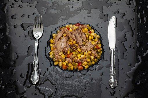 Food, Fish, Fork, Knife, Artistic, Table, Wet