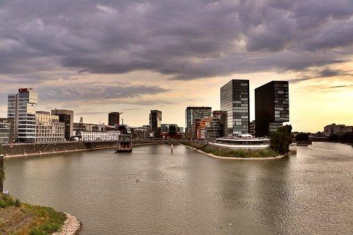 Port, Düsseldorf, Media Harbour, Architecture, Water