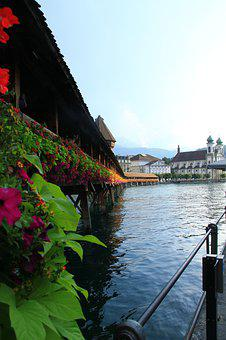 Switzerland, Lucerne, Chapel Bridge, Lake, Water, Blue