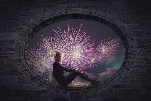 Fireworks, Women, City, Window, Pyrotechnics