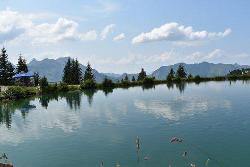 Switzerland, Mountains, Lake, Brunni, Panorama, Clouds