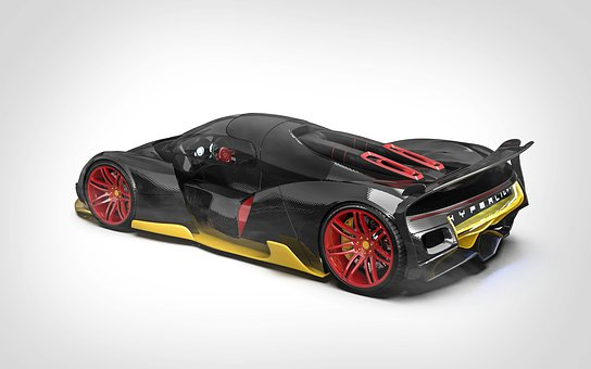 Black, Yellow, Car, Concept, Vehicle, Auto, Speed