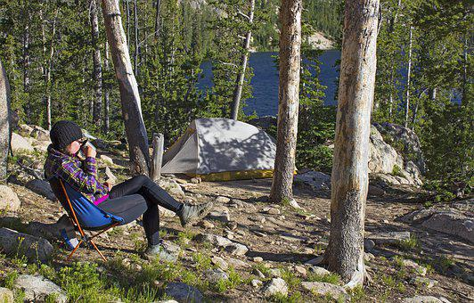 Mountains, Camping, Backpacking, Woman, Drinking