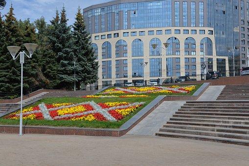 City, Building, Street, Lantern, Flower Bed, Flowers