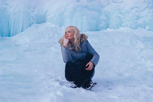 Beautiful Girl, Snow, Sitting, Winter, Ice, Glacier