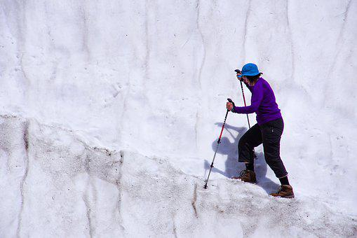 Walk, Glacier, Snow, Woman, Fear, Only, Nature