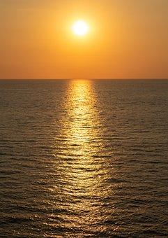 Sunset, Sea, Sky, Ocean, Dusk, Abendstimmung