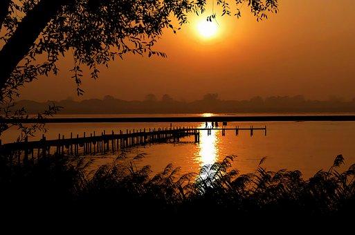 Sunset, Nature, Lake, Trees, Landscape, Horizon, Orange