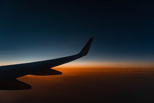Airplane, Sunset, Sun, Plane, Sky, Travel, Landscape