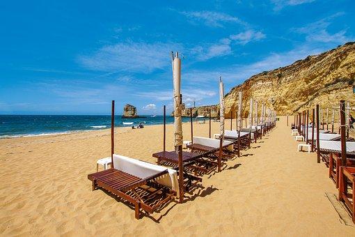 Ferragudo, Bay, Cliffs, Boat, Algarve, Portugal