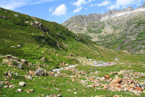 Switzerland, Susten, Green, Summer, Snow, Rock