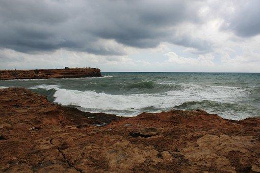 Spain, Torrevieja, Sea, Panorama, Clouds, Storm