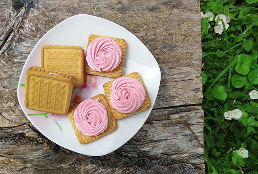 Marshmallow, Cookies, Sweet, Pink, Wood, Grass, Food
