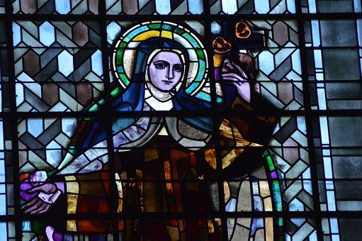 Stained Glass, Window, Church, Sainte, Theresa