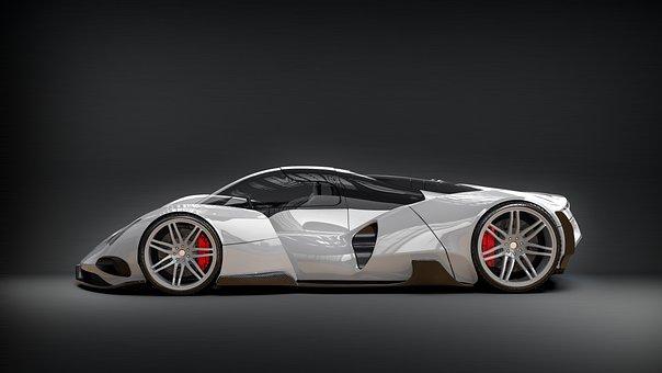 White, Car, Concept, Vehicle, Auto, Speed