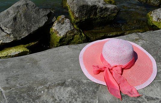 Travel, Holiday, Beach, Lake Balaton, Straw Hat, Pink
