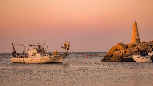 Boat, Sunset, Fishing Port, Sea, Dusk, Evening, Summer