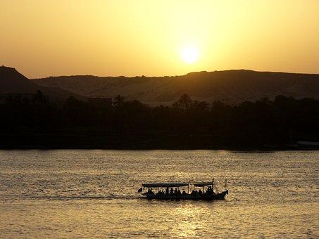 Sunset, River, Burma, Boat, Twilight, Landscape, Summer
