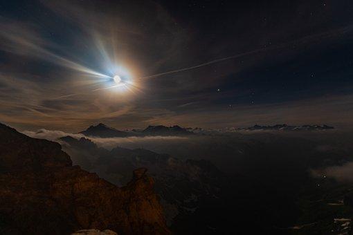 Mountains, Night, Full Moon, Star, Switzerland