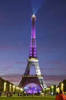 Tower, Eiffel, Night, Violet, Purple, France, Paris